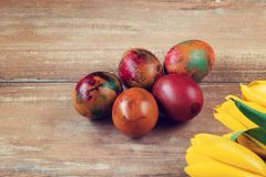 Easter colored eggs and yellow and red tulips on brown wooden board. Easter colored eggs and yellow and red tulips on brown wooden board Royalty Free Stock Photos