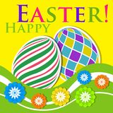 Easter colored greeting card - eggs with flowers. Easter colored greeting card - two eggs with white outline, shadows, flowers, waves and text in front of a stock illustration