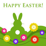 Easter colored greeting card - rabbit with flowers Stock Image