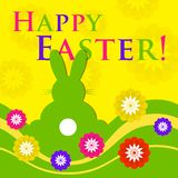 Easter colored greeting card - rabbit with flowers Royalty Free Stock Photos