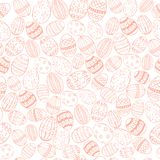 Easter Colored Seamless. Easter Seamless with Hand Drawn Easter Eggs made in Light Pink Color against White Background. Easter Holiday Print. Vector EPS 10 Stock Images
