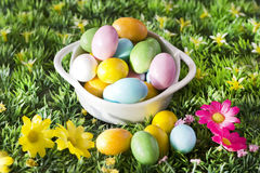 Easter colorful chocolate over spring background Stock Photos
