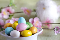Easter colorful chocolate over spring background Royalty Free Stock Photography