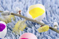 Easter colorful decoration and spring flowers Stock Photography