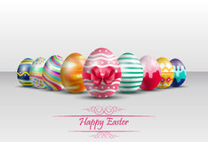 Easter colorful Eggs Background with red ribbon Royalty Free Stock Photo