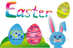 Easter colorful eggs with blue bunny rabbit Royalty Free Stock Photo