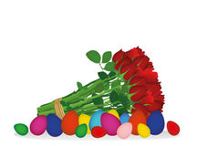 Easter colorful eggs. A bouquet of red flowers. Roses. Vector Royalty Free Stock Image