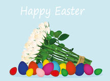 Easter colorful eggs. A bouquet of white flowers. Roses. Vector Stock Photo