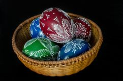 Easter - colorful eggs in a bowl. Hand-decorated eggs for Easter Royalty Free Stock Photography