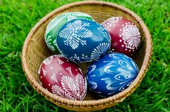 Easter - colorful eggs in a bowl. Hand-decorated eggs for Easter royalty free stock photo