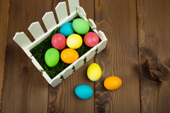 Easter colorful eggs. Composition of colored eggs to celebrate Easter Stock Photos