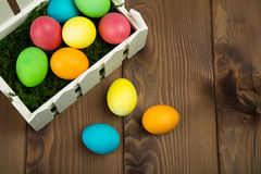 Easter colorful eggs. Composition of colored eggs to celebrate Easter Stock Image