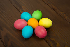 Easter colorful eggs. Composition of colored eggs to celebrate Easter Royalty Free Stock Photos