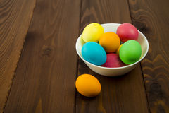 Easter colorful eggs. Composition of colored eggs to celebrate Easter Stock Images