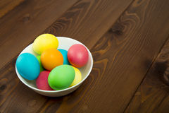 Easter colorful eggs. Composition of colored eggs to celebrate Easter Royalty Free Stock Photo