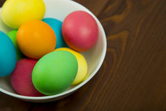 Easter colorful eggs. Composition of colored eggs to celebrate Easter Royalty Free Stock Images