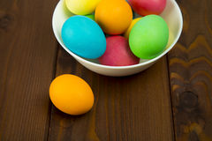 Easter colorful eggs. Composition of colored eggs to celebrate Easter Stock Photography