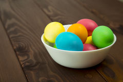Easter colorful eggs. Composition of colored eggs to celebrate Easter Stock Photo