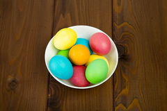 Easter colorful eggs. Composition of colored eggs to celebrate Easter Royalty Free Stock Image