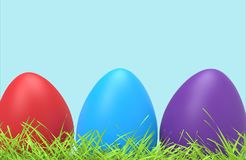 Easter colorful eggs in green grass. Close up. 3D illustration and rendering object Royalty Free Stock Photo