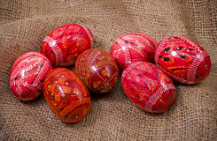 Easter Eggs  on a gunny background Royalty Free Stock Images