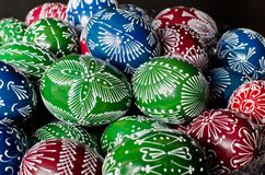 Easter - colorful eggs. Hand-decorated eggs for Easter Stock Photography