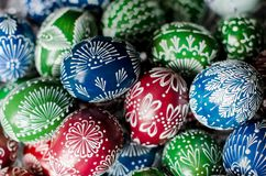 Easter - colorful eggs. Hand-decorated eggs for Easter Royalty Free Stock Images