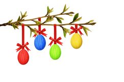 Easter colorful eggs hanging on spring tree branch with small le. Aves isolated on white background royalty free stock photos