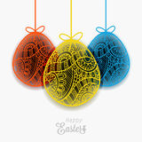 Easter colorful eggs for holiday  with ribbon and bow. Stock Images
