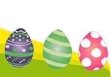 Easter colorful eggs: lines, polka dot. Pink, violet and green Easter colorful eggs decorated with lines, polka dot and flowers stock illustration
