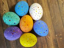 Easter colorful eggs tray wooden pattern fun seasonal spring. Easter eggs colorful tray wooden handmade seasonal spring fun pattern Stock Photography