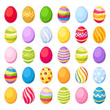 Easter colorful eggs. Vector illustration. Vector set of 30 colorful Easter eggs isolated on white. Vector illustration Stock Photos