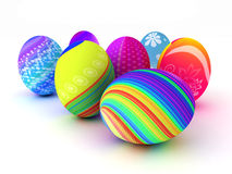 Easter colorful eggs  on white background Stock Image