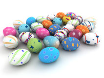 Easter colorful eggs  on white background Royalty Free Stock Photo