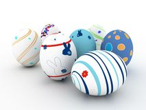 Easter colorful eggs on white background Royalty Free Stock Image