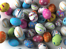 Easter colorful eggs on white background Stock Photos