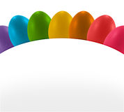 Easter colorful eggs and white curve paper banneพ. Rainbow easter colorful eggs  and white paper curve Royalty Free Stock Photography