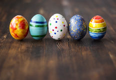 Easter colorful eggs on wooden background royalty free stock image