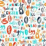 Easter colorful grunge background. Seamless pattern for spring decoration. Creative free style design. Vector Stock Images
