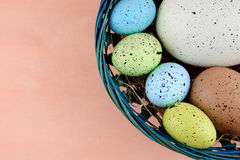 Easter colorful quail eggs in blue basket on a pale pink background. Royalty Free Stock Photo