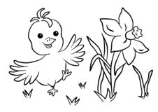 Easter, coloring book with happy chick stock photos