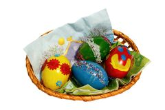 Easter coloured eggs. Easter basket of coloured eggs Stock Photo