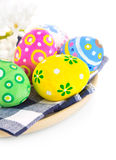 Easter coloured eggs in plate Royalty Free Stock Image