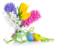 Easter coloured eggs in plate Stock Photos