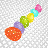 Easter coloured eggs on white 3D background Stock Images
