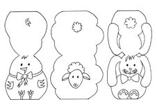 Easter colouring animals cut outs Royalty Free Stock Image