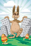 Easter coming. Demonic Easter Bunny coming with painted eggs Royalty Free Stock Image