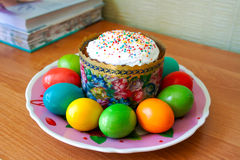 Easter is coming. There are Easter cake and painted eggs on the plate Royalty Free Stock Photography