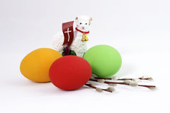 Easter composiotion. The Easter lamb with painted eggs Stock Image