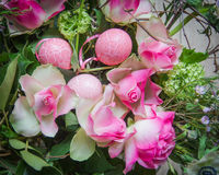 Easter compositie with pink eggs and pink roses Royalty Free Stock Photos
